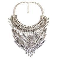 Zinklegierung Schmuck Halskette, mit Verlängerungskettchen von 8cm, Platinfarbe platiniert, Twist oval & für Frau & mit Strass, frei von Nickel, Blei & Kadmium, 180x120mm, verkauft per ca. 13.7 ZollInch Strang