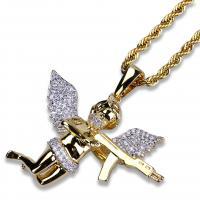 Messing Pullover Halskette, Engel, plattiert, Micro pave Zirkonia & für den Menschen, keine, frei von Nickel, Blei & Kadmium, 47x45mm, verkauft per ca. 23.6 ZollInch Strang