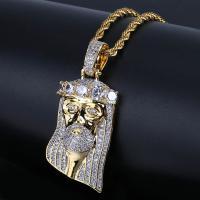 Messing Pullover Halskette, goldfarben plattiert, Micro pave Zirkonia & für den Menschen, keine, frei von Nickel, Blei & Kadmium, 26x16x8mm, verkauft per ca. 24 ZollInch Strang