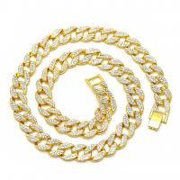 Zinklegierung Halskette, Zinklegierung Ring-Ring Verschluss, goldfarben plattiert, Micro pave Zirkonia & für den Menschen, frei von Blei & Kadmium, 600x15mm, verkauft per ca. 23.6 ZollInch Strang