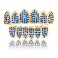 Messing mit FDA Silikon, goldfarben plattiert, Micro pave Zirkonia & für den Menschen, blau, frei von Nickel, Blei & Kadmium, 54x13mm,41x11mm, verkauft von setzen