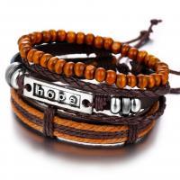 PO Leder Armband-Set, mit Holz & Zinklegierung, für den Menschen, braun, frei von Nickel, Blei & Kadmium, 40mm, verkauft von PC