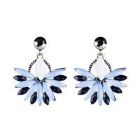 Zinklegierung Ohrringe, mit Kristall, silberfarben plattiert, für Frau, keine, frei von Nickel, Blei & Kadmium, 35x40mm, verkauft von Paar