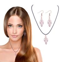 Zinklegierung Schmucksets, Ohrring & Halskette, mit Lederband & Kristall, Rósegold-Farbe plattiert, für Frau, frei von Nickel, Blei & Kadmium, 55mm, Länge:ca. 17.7 ZollInch, verkauft von setzen