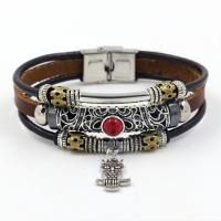 Kunstleder Armband, mit Türkis & Zinklegierung, Edelstahl Ring-Ring Verschluss, plattiert, für den Menschen & Multi-Strang & hohl, keine, 12x220mm, Länge:ca. 8 ZollInch, 10PCs/Menge, verkauft von Menge