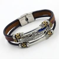 Kunstleder Armband, mit Edelstahl, Edelstahl Ring-Ring Verschluss, plattiert, für den Menschen & Multi-Strang & hohl, keine, 12x220mm, Länge:ca. 8 ZollInch, 10SträngeStrang/Menge, verkauft von Menge