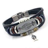 Leder Armband, mit Edelstein, Zinklegierung Ring-Ring Verschluss, silberfarben plattiert, unisex & Multi-Strang, keine, Länge:ca. 8 ZollInch, 10SträngeStrang/Menge, verkauft von Menge
