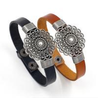 Zinklegierung Armband, mit PU Leder, plattiert, unisex & hohl, keine, Länge:ca. 8 ZollInch, 10SträngeStrang/Menge, verkauft von Menge