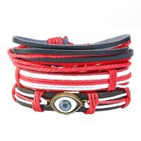 PU Leder Armband, mit Kunstleder & Gewachsten Baumwollkordel & Zinklegierung, plattiert, unisex & böser Blick- Muster & Multi-Strang, Länge:ca. 6 ZollInch, 10SträngeStrang/Menge, verkauft von Menge