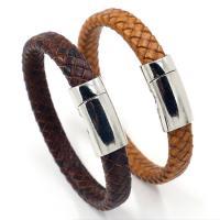 Kunstleder Armband, mit Zinklegierung, Zinklegierung Magnetverschluss, plattiert, unisex, keine, Länge:ca. 8 ZollInch, 10SträngeStrang/Menge, verkauft von Menge