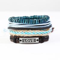 Gewachsten Baumwollkordel Armband, mit PU Leder & Edelstein & Zinklegierung, plattiert, unisex & Multi-Strang, blau, Länge:ca. 6 ZollInch, 10SträngeStrang/Menge, verkauft von Menge