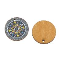 Holz Ohranhänger Zubehör, flache Runde, Kunstdruck, verschiedene Muster für Wahl, keine, 20x2mm, Bohrung:ca. 1mm, ca. 1000PCs/Tasche, verkauft von Tasche