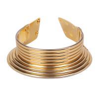 Zinklegierung Collier, Zinklegierung Druckknopf Verschluss, plattiert, Folk-Stil & für Frau, goldfarben, verkauft per ca. 18.1 ZollInch Strang