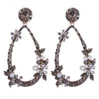 Zinklegierung Ohrringe, mit ABS-Kunststoff-Perlen, Zinklegierung Stecker, plattiert, Folk-Stil & für Frau & mit Strass, keine, 75x43mm, verkauft von Paar