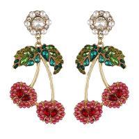 Zinklegierung Ohrringe, mit ABS-Kunststoff-Perlen, Zinklegierung Stecker, Blume, plattiert, für Frau & mit Strass, rot, 75x38mm, verkauft von Paar