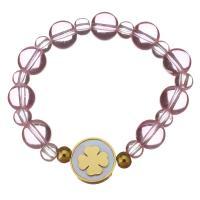 Edelstahl Armband, mit Weiße Muschel & Natürlicher Quarz, goldfarben plattiert, unisex, Rosa, 16mm,10mm, verkauft per ca. 6 ZollInch Strang