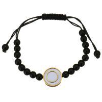 Edelstahl Armband, mit Glasperlen & Baumwolle Schnur & Weiße Muschel, unisex & einstellbar, schwarz, 16mm,6mm, verkauft per ca. 5-10 ZollInch Strang