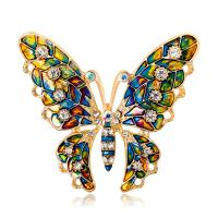 Zinklegierung Broschen, Schmetterling, goldfarben plattiert, für Frau & mit Strass, frei von Nickel, Blei & Kadmium, 46*53uff4duff4d, verkauft von PC