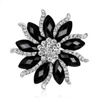 Zinklegierung Broschen, Blume, Platinfarbe platiniert, für Frau & mit Strass, frei von Nickel, Blei & Kadmium, 54*54uff4duff4d, verkauft von PC