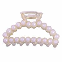 Haarklammer, Zinklegierung, plattiert, Nachahmung Perle & verschiedene Stile für Wahl & für Frau, weiß, 100x100x20mm, verkauft von PC