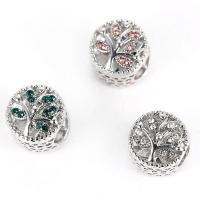 Zinklegierung Großes Loch Perlen, Platinfarbe platiniert, mit Strass & hohl, keine, frei von Nickel, Blei & Kadmium, 12x11mm, Bohrung:ca. 5mm, 10PCs/Tasche, verkauft von Tasche