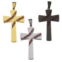 Edelstahl-Kreuz- Anhänger, Edelstahl, plattiert, Emaille, keine, 29x49x2.50mm, Bohrung:ca. 4x9mm, verkauft von PC