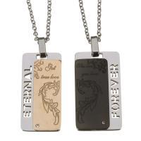 Edelstahl Ehepaar Halskette, Oval-Kette, 20x35mm,20x35mm,2mm, Länge:ca. 17 ZollInch, 2SträngeStrang/Menge, verkauft von Menge