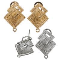 Zinklegierung Ohrring-Bolzen -Komponente, plattiert, mit Schleife, keine, frei von Nickel, Blei & Kadmium, 18x25x16mm, Bohrung:ca. 1.5mm, ca. 10PaarePärchen/Menge, verkauft von Menge