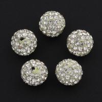 Strass Ton befestigte Perlen, Lehm pflastern, plattiert, mit Strass, weiß, 10x10mm, Bohrung:ca. 1mm, 100PCs/Tasche, verkauft von Tasche
