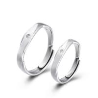 925er Sterling Silber Paar- Ring, Kreisring, plattiert, einstellbar & verschiedene Stile für Wahl & Micro pave Zirkonia, 4mm, 1.4mm, 3.2mm, 1.2mm, Größe:6-11, verkauft von PC
