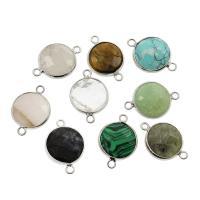 Edelstein-Connector, Edelstein, mit Zinklegierung, silberfarben plattiert, frei von Nickel, Blei & Kadmium, 18*26*6mm, Bohrung:ca. 2mm, 10PCs/Tasche, verkauft von Tasche