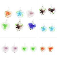 Innen Blume Lampwork Anhänger, Herz, gemischte Farben, 21x29x11mm, Bohrung:ca. 6mm, 12PCs/Box, verkauft von Box