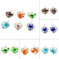 Innen Blume Lampwork Anhänger, Herz, gemischte Farben, 20x25x11mm, Bohrung:ca. 3mm, 50PCs/Tasche, verkauft von Tasche