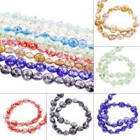 Holprige Lampwork Perlen, flachoval, uneben, keine, 16x10mm, Bohrung:ca. 1mm, ca. 100PCs/Tasche, verkauft von Tasche