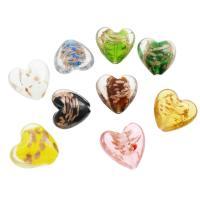 Goldsand Lampwork Perlen, flacher Herz, verschiedene Größen vorhanden, Bohrung:ca. 2mm, ca. 100PCs/Tasche, verkauft von Tasche