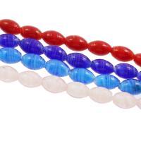 Innerer Twist Lampwork Perlen, Olive, innen Twist, keine, 11x19mm, Bohrung:ca. 1mm, ca. 100PCs/Tasche, verkauft von Tasche