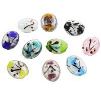 Silberfolie Lampwork Perlen, Olive, 25x30x12mm, Bohrung:ca. 2mm, ca. 100PCs/Tasche, verkauft von Tasche