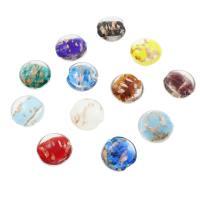 Goldsand Lampwork Perlen, flache Runde, verschiedene Größen vorhanden, Bohrung:ca. 2mm, ca. 100PCs/Tasche, verkauft von Tasche