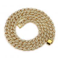 Zinklegierung Halskette, plattiert, unterschiedliche Länge der Wahl & für den Menschen & mit Strass, keine, frei von Nickel, Blei & Kadmium, verkauft von Strang