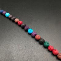 Natürliche Lava Perlen, keine, 8mm, Bohrung:ca. 1mm, ca. 22PCs/Strang, verkauft von Strang