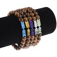 Holz Armbänder, mit Zinklegierung, Pfeilspitze, unisex, keine, 8mm, verkauft per 7.5 ZollInch Strang