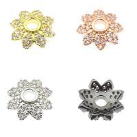 Messing Perlenkappe, Blume, plattiert, mit Strass, keine, frei von Nickel, Blei & Kadmium, 11x10x3mm, verkauft von PC