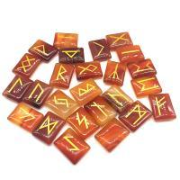 Roter Achat Dekoration, Quadrat, geschnitzt, braun, 15x20mm, 25PCs/Menge, verkauft von Menge