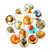 organisches Glas Kühlschrank-Magnet, gemischtes Muster & mit Magnet & verschiedene Größen vorhanden, gemischte Farben, 18mm, 500PCs/Menge, verkauft von Menge