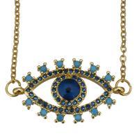 Edelstahl Halskette, mit Verlängerungskettchen von 2inch, blöser Blick, Oval-Kette & Micro pave Zirkonia, Goldfarbe, 26x16mm,1.5mm, verkauft per ca. 17 ZollInch Strang