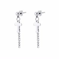 Titanstahl Tropfen Ohrring, Kreuz, silberfarben plattiert, für Frau, frei von Nickel, Blei & Kadmium, 38x15mm, verkauft von Paar