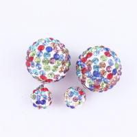 Zinklegierung Doppelseitigen Ohrstecker, Platinfarbe platiniert, Koreanischen Stil & für Frau & mit Strass, keine, frei von Nickel, Blei & Kadmium, 16x8mm, verkauft von Paar