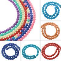 Natürliche Lava Perlen, rund, verschiedene Größen vorhanden, keine, Bohrung:ca. 1mm, verkauft von Strang