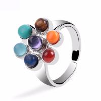 SteinKorn Manschette Fingerring, mit Zinklegierung, plattiert, unisex, farbenfroh, 19mm, verkauft von PC