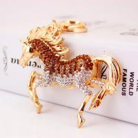 Zinklegierung Schlüsselanhänger, mit Tschechisch, Pferd, goldfarben plattiert, unisex, keine, frei von Nickel, Blei & Kadmium, 51x65mm, verkauft von PC